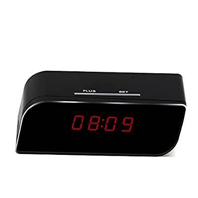 MEAUOTOU Wi-Fi Hidden Camera Alarm Clock App Monitor 1080P HD Remote Real-time Video With Audio Motion Detection Alarm Spy Camera Home Security Camera Wireless Nanny Cam Black by MEAUOTOU