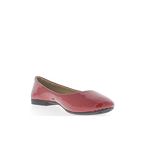 Ballerine classiche rosse verniciato con twill nastro 1,5 cm