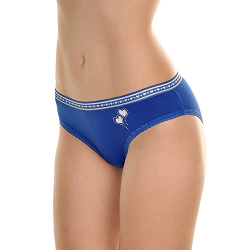 Angelina Cotton Bikini Panties with Rhinestone Hearts (6-Pack), G6320_XL