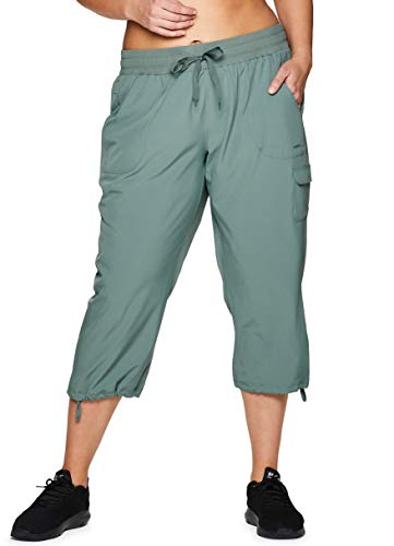 RBX Active Women's Plus Size Lightweight Drawstring Cargo Capri Pant S19 Green 2X