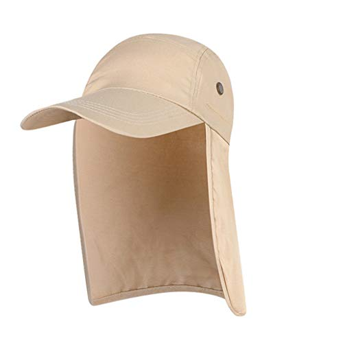 (Sagton Outdoor Sun Hat,360 Degree Sun Protection Foldable Breathable Wide Brim Adjustable Fishing Cap with Neck Flap Beige)