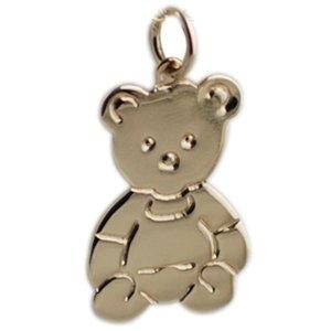 9ct gold 21x19mm flat teddy bear pendant amazon co uk jewellery