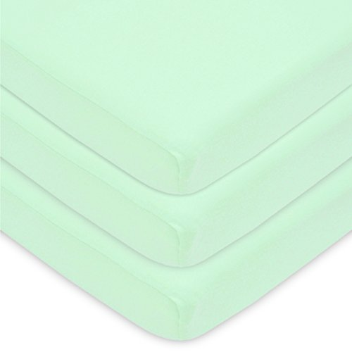 American Baby Company 100% Natural Cotton Value Jersey Knit Fitted Portable/Mini-Crib Sheet, Mint, 24' x 38' x 5', Soft Breathable, for Boys and Girls, Pack of 3