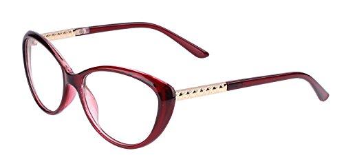 Agstum Womens Cat eye Glasses Frame Optical Eyeglasses Clear lens (Red, - Eye Cat Glasses Prescription Oversized