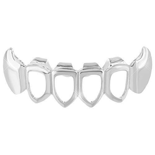 Mens Hip Hop Bottom Mouth Teeth Grillz Caps 14K White Gold Finish Brand New Rapper Wear (Custom Costume Hip Hop Jewelry)