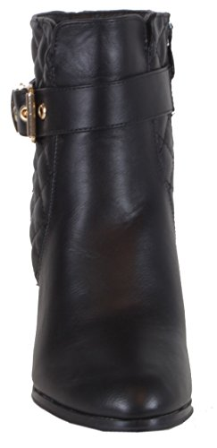 Carroll - schicke Damen Stiefeletten Steppmuster Deko Metall Kette hoher Absatz Herbst Winter Boots 36 37 38 39 40 41 Steppmuster Schwarz