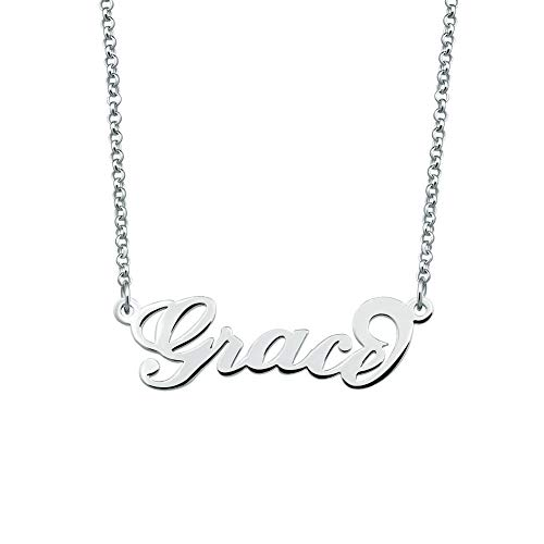 JewelryJo 925 Sterling Silver Personal Name Necklace Semi-Custom Made Customized Personalized Gift for Grace ()