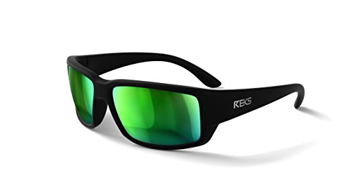 REKS Polarized Unbreakable WRAP AROUND Sunglasses (NEW 2018 Model) (Satin Touch Black, Green - Glasses Model New
