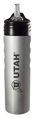 LXG, Inc. University of Utah-24oz. Stainless Steel Grip Water Bottle with Straw-Silver ()