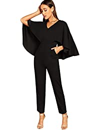 Women's V-Neck Solid Cape High Waist Long Pants Jumpsuit