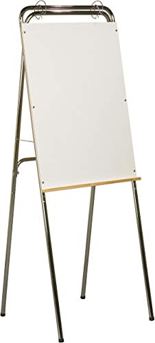 (Best-Rite Ideal Floor Standing and Table Top Dry Erase Whiteboard Easel, Chrome Frame, (1000) (Renewed))