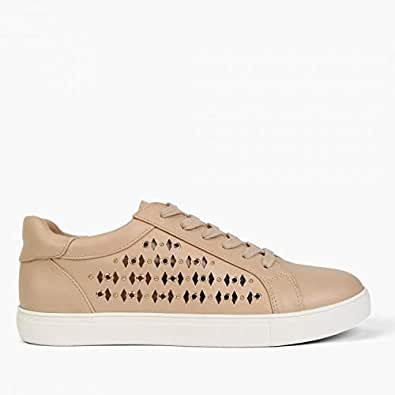 Lee Cooper Lace Up Shoes with Laser Cut Detail Nude Size 41