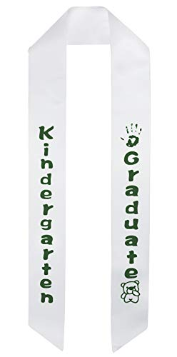 Printed Sash Satin - GraduationMall White Satin Kindergarten Graduation Sash with Printed Bear for Kids in Forest Fonts
