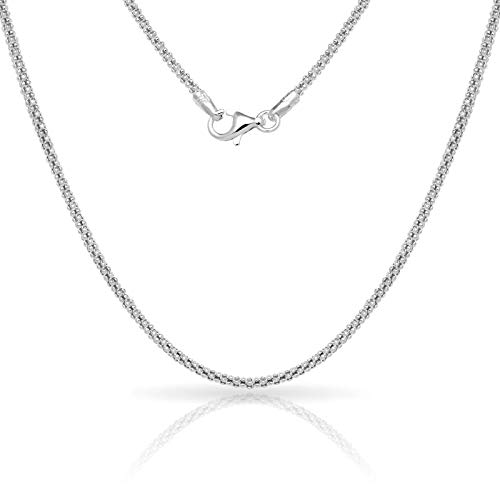 - Verona Jewelers Sterling Silver 2.5MM Italian Diamond-Cut Popcorn Coreana Chain Necklace- 925 Sterling Silver Chain for Men and Women, Diamond Cut Necklace, Made in Italy 16 18 20 24 (18)