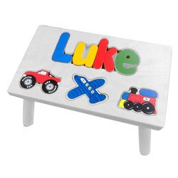 Personalized Transportation Wooden Puzzle Stool- Stool Color: Natural, Letter Color: Primary, 1-8 Letters Baby Kids Bargains