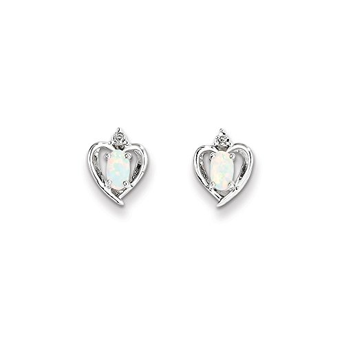 0.2 Ct Diamond Earrings - Sterling Silver Rhodium Plated Created Opal & Diamond Earrings. Gem Wt- 0.2ct (10MM Long x 7MM Wide)