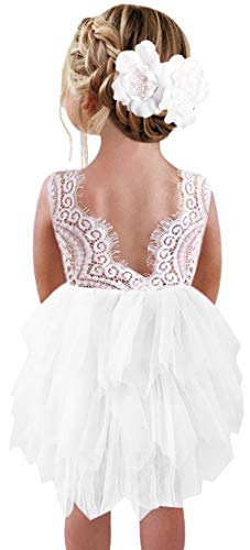 2Bunnies Girl Beaded Peony Lace Back A-Line Tiered Tutu Tulle Flower Girl Dress (White Short Sleeveless, 24M/2T)