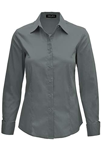 (iliad USA 8019 Women's Basic Long Sleeve Slim Fit Button Down Shirt Grey 2XL)