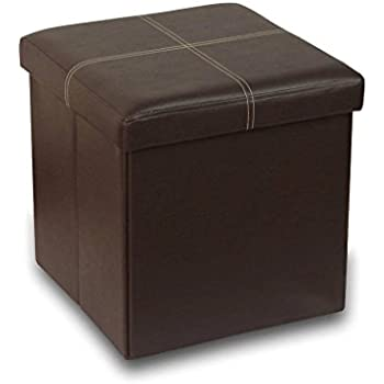 Otto & Ben  15 inch Line Design Memory foam Seat Folding Storage Ottoman Bench with Faux Leather,  Brown