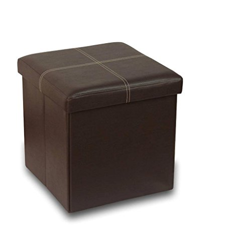 """Otto & Ben 15"""" Storage Ottoman - Folding Toy Box Chest with Memory Foam Seat, Faux Leather Small Ottomans Bench Foot Rest Stool, Line Brown"""