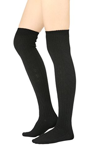STYLEGAGA Winter Cozy Cable Knit Over The Knee High Boot Socks (One Size: XS to M, Cozy Cable_Black)