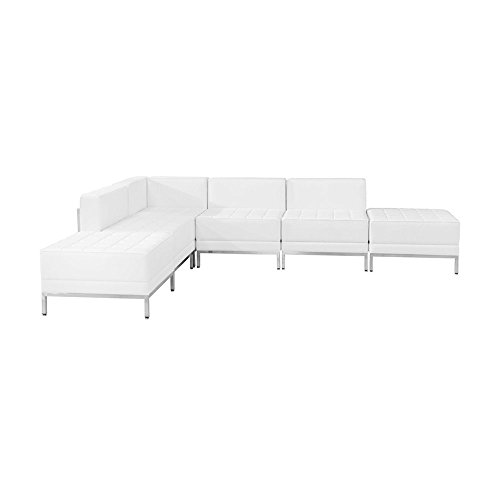 Flash Furniture HERCULES Imagination Series Melrose White Leather Sectional Configuration, 6 Pieces