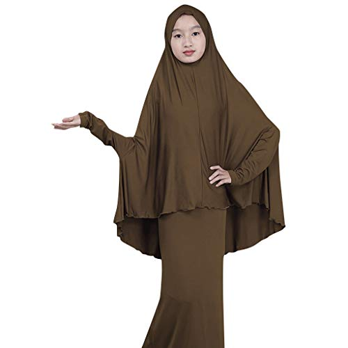 (Sunyastor Muslim Islamic Girl's Abayas and Jilbabs Full Length Dresses + Hijab Two-Piece Prayer Dress Abaya Set Hajj Dress)