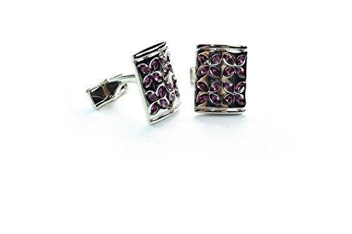 Purple Crystal Flower Cufflinks