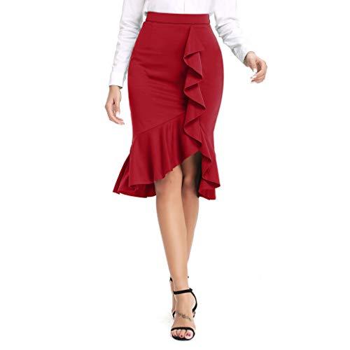 RIUDA Women's Irregular Solid Casual Ruffle Bodycon Knee Length Elastic Fishtail Skirts Red