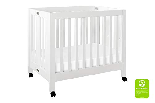 Babyletto Origami Mini Portable Crib with Wheels in White - 2 Adjustable Mattress Positions, Greenguard Gold