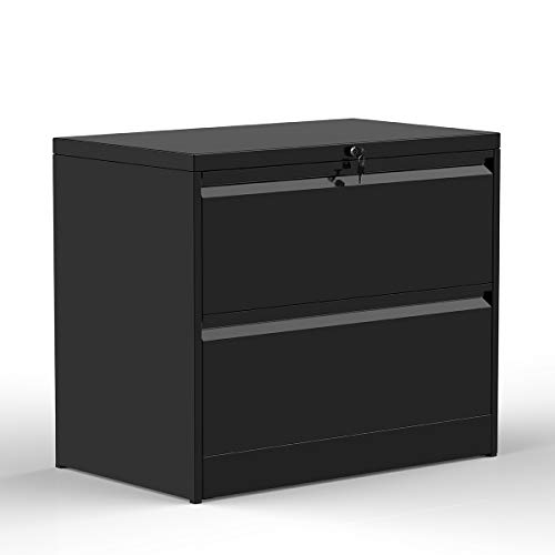 ModernLuxe File Cabinet,Home Office Lockable Heavy Duty Metal Lateral File Cabinet with 2 Drawers Black