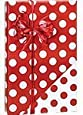 Reversible RED & WHITE POLKA DOTS Christmas Gift Wrap Wrapping Paper - 16ft Roll