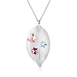 KesaPlan 18K Gold & Silver Plated Leaf Long Pendant Necklace for Women Girls Y Necklace Leaf Sweater Chain Pendant…