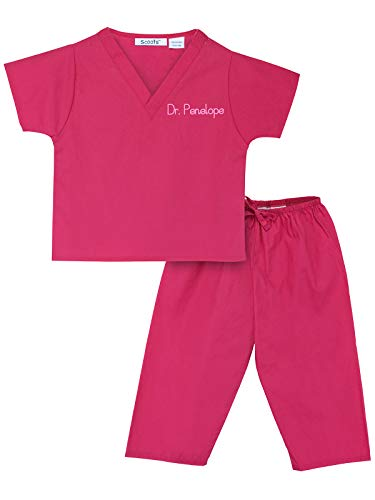 Little Brother And Sister Halloween Costumes (Scoots - Personalized Kids Scrubs, Customized with Your Child's Name, Size 2T, Hot)