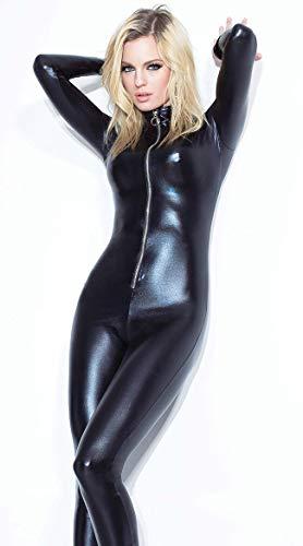 GuoZh Black Size S-Xlwomen's Stretch Jumpsuit Latex Catsuit Sexy Lingerie Catwoman Patent Leather Crotch Zipper Nightclubs Bodysuit,L