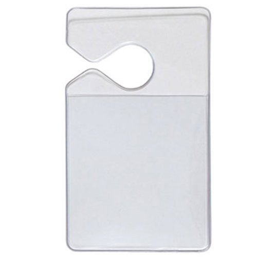Clear Parking Permit Holder - Durable Vertical Parking Lot Pass Rear View Mirror Hanger - For SMALL Stickers and Passes - for Car or Truck by Specialist ID, 1 Sold Individually