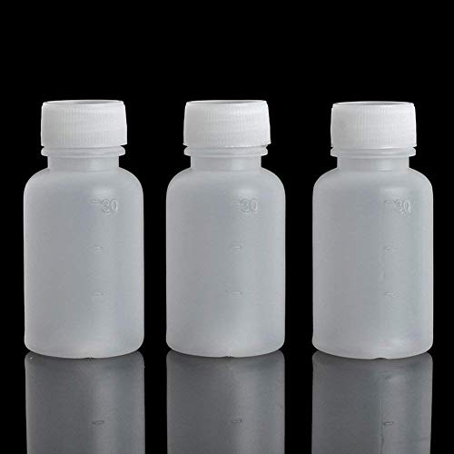 GDGY 50pcs 30ml 1oz PE Plastic Empty Small Mouth Graduated Lab Chemical Container Reagent Bottle (30Ml50 Pcs)