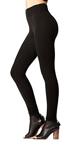 Conceited Super Soft High Waisted Leggings for Women - Full Length Midnight Black - Small/Medium (0-10) ()