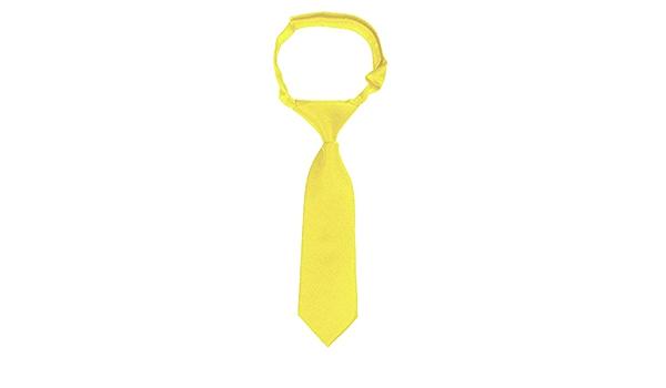 ADF Boys Solid Color 14 Inch Zipper Neck Tie Sunshine Yellow