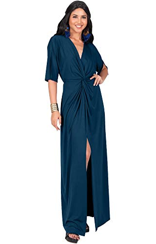 KOH KOH Petite Womens Long Sexy V-Neck Short Sleeve Cocktail Evening Bridesmaid Wedding Party Slimming Casual Summer Maxi Dress Dresses Gown Gowns, Blue Teal S 4-6 (Prom Gown Slim)
