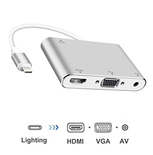 (Macsen HDMI VGA AV Audio Adapter Converter Compatible with iPhone X 8 7 6 6s 5 Plus iPad iPod on HDTV/Display/Projector 4 in 1 Multiport Digital Connector 1080P HD)