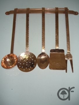 Set Kellen schwer Deko Küche aus Kupfer 5 Stück mit Wandhalterung ... | {Deko für die küche 31}