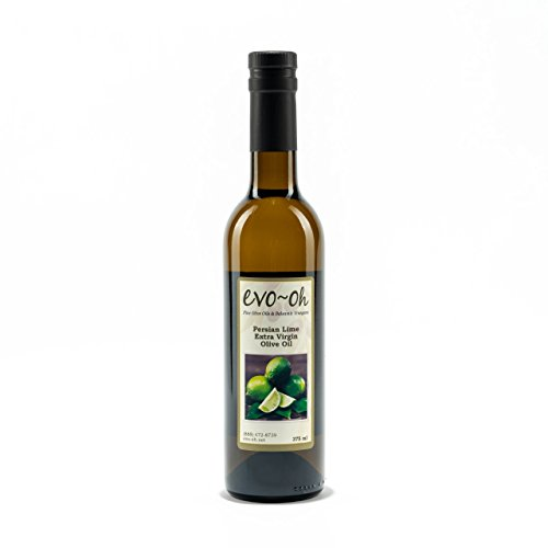 EVO-Oh Persian Lime Flavored Organic Olive Oil - Certified Extra Virgin Olive Oil - 100% Natural Handcrafted Oil 375 ml (12.6 Fl Ounce) - Bottled in the USA