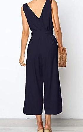 NANYUA Women Party V Neck Sleeveless Wide Leg Pants Jumpsuit Romper with Belt