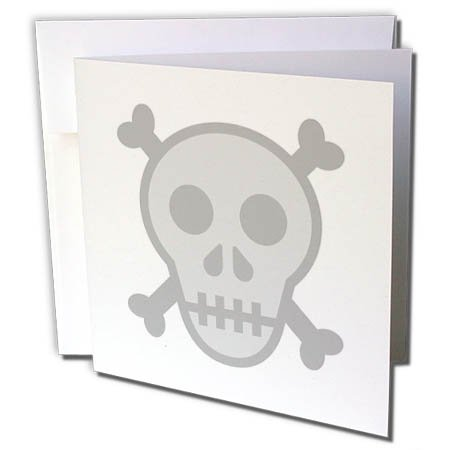 3dRose Xander funny quotes - Skull and crossbones, picture of skull on a white background - 6 Greeting Cards with envelopes (gc_265899_1)