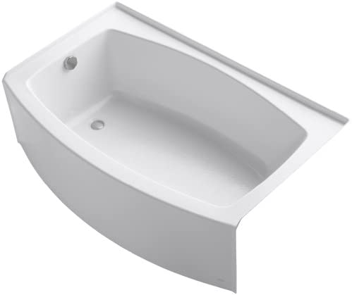 KOHLER K-1100-LA-0 Expanse Curved Integral Apron Bath with Left-Hand Drain, White