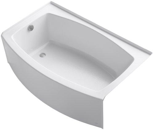 - KOHLER K-1100-LA-0 Expanse Curved Integral Apron Bath with Left-Hand Drain, White