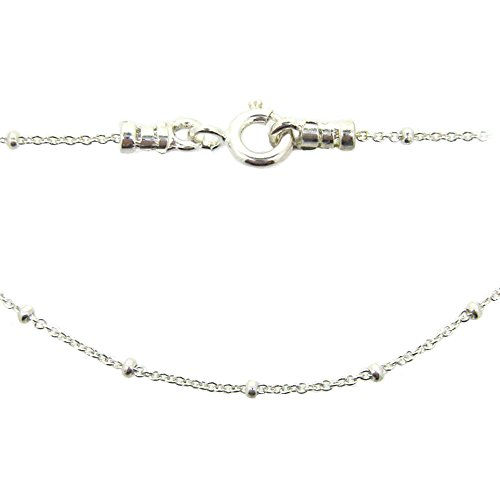 Sterling Silver Beaded Chain Necklace, Satellite Chain Cable Necklace - All Sizes (16)