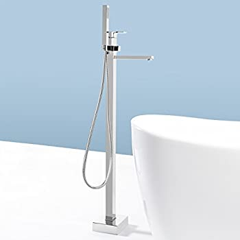 bathtub faucet free standing brushed nickel freestanding tub filler placement contemporary floor mount bath spout single handle handheld shower head polished chrome