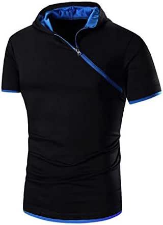 Summer Men's Hooded Diagonal Zipper Ouma Short Sleeve t-shirt - / L